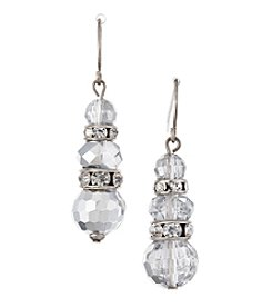 BT-Jeweled Silvertone Metallic Faceted Bead And Rhinestone Drop Earrings