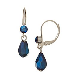 BT-Jeweled Metallic Faceted Bead Small Teardrop Earrings