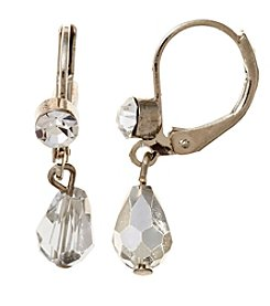 BT-Jeweled Silvertone Metallic Faceted Bead Small Teardrop Earrings