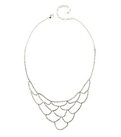 BT-Jeweled Silvertone And Crystal Scallops Necklace
