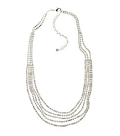 BT-Jeweled Silvertone And Simulated Crystal Five Row Draped Necklace