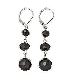 BT-Jeweled Hematite Tone Trio Beads Earrings