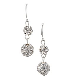 BT-Jeweled Silvertone And Simulated Crystal Double Fireball Drop Earrings