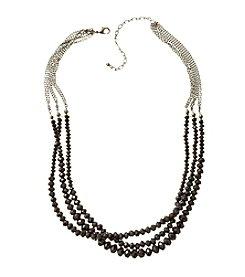 BT-Jeweled Hematite Three-Row Beaded Necklace