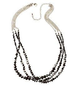 BT-Jeweled Metallic And Palladium Three Row Beaded Necklace