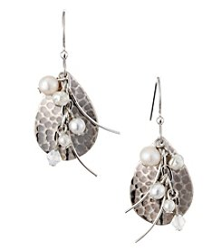 Silver Forest® Silvertone Teardrop With Pearls Earrings