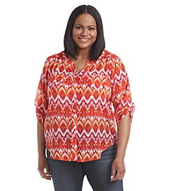 AGB® Plus Size Printed Tie Front Top
