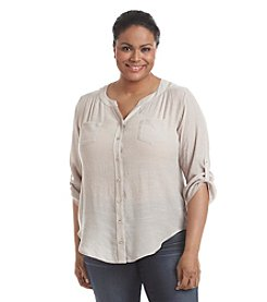 AGB® Plus Size Gauze Tie Front Top