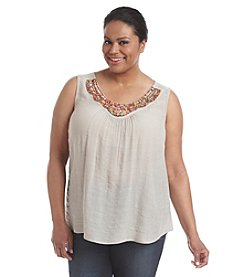 AGB® Plus Size Beaded Tank Top
