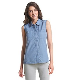 Le Tigre Sleeveless Snap Front Chambray Top