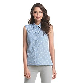 Le Tigre Sleeveless Star Patterned Snap Front Chambray Top