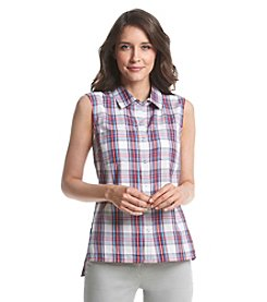 Le Tigre Sleeveless Snap Front Plaid Top