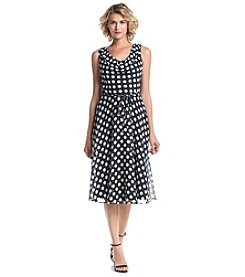 Prelude® Chiffon Dot Patterned Cowl Neck Dress