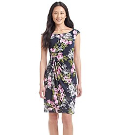 Connected® Petites' Floral Side Ruched Dress