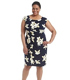 Connected® Plus Size Ruched Floral Sheath Dress