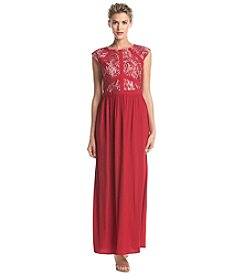 NW Collections Lace Sequin Long Dress