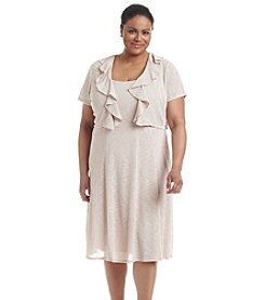 R&M Richards® Plus Size Ruffled Front Jacket Dress