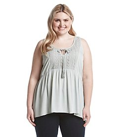 Eyeshadow® Plus Size Lace Tie Front Tank