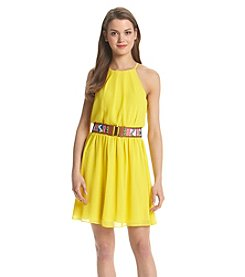 A. Byer Pleated Neck Belted Dress