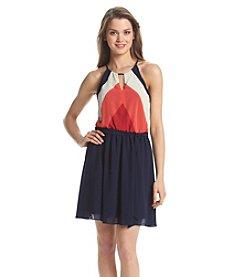 A. Byer Chiffon Halter Dress