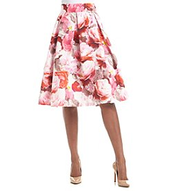 Eliza J® Pleated Midi Floral Skirt