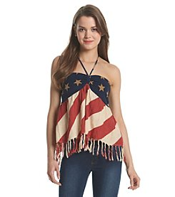 Hippie Laundry Flag Print Halter Tank With Fringe