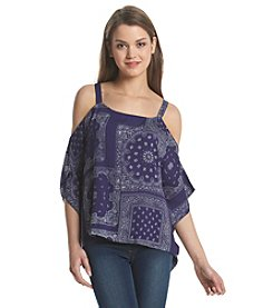 Hippie Laundry Bandana Printed Cold Shoulder Top