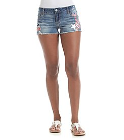Hippie Laundry Frayed Hem Patch Shorts