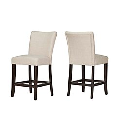 Home Interior Kirkwood Set of 2 Linen Counter Stools
