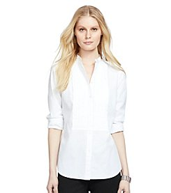Lauren Ralph Lauren® Petites' Pleated-Bib Cotton Shirt