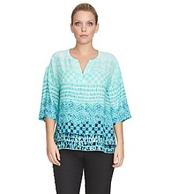 Chaus Tropical Array Split Neck Blouse