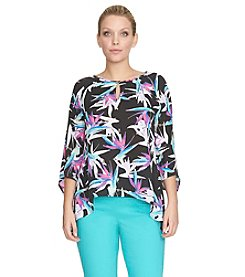 Chaus Paradise Flowers Sharkbite Top
