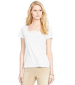 Lauren Ralph Lauren® Lace-Inset Cotton Top