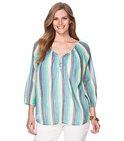 Chaps® Plus Size Striped Peasant Top