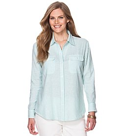 Chaps® Plus Size Striped Linen-Cotton Workshirt