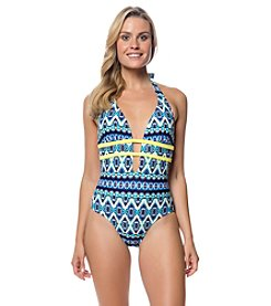 Jessica Simpson Keyhole Plunge Printed One-Piece