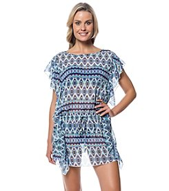 Jessica Simpson Printed Flutter Chiffon Cover-Up