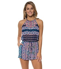 Jessica Simpson Patterned High Neck Romper Cover-Up