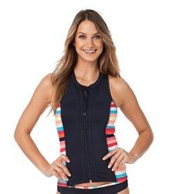 Anne Cole® Running Stripe Neoprene Zip Front Rashguard