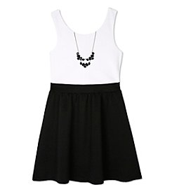 A. Byer Girls' 7-16 Colorblock Fit And Flare Dress With Necklace