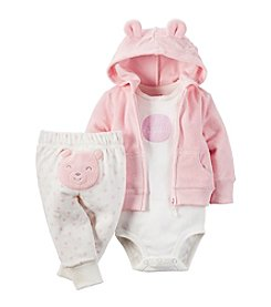 Carter's® Baby Girls' 3-Piece Happy Bear Hoodie Set