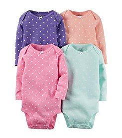 Carter's® Baby Girls' 4-Pack Long Sleeve Dot Bodysuits