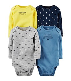 Carter's® Baby Boys 4-Pack Long Sleeve Mustache Bodysuits