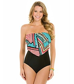 ECO SWIM by AquaGreen® Layered Ruffle Bandeau One-Piece