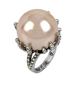 Betsey Johnson® Silvertone Large Pave Pearl Cocktail Ring