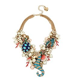 Betsey Johnson Goldtone Sea Horse Multi Charm Bauble Necklace