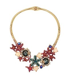 Betsey Johnson Goldtone Starfish Hinged Collar Necklace