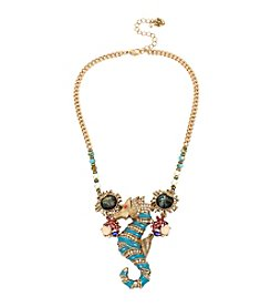 Betsey Johnson Goldtone Sea Horse Frontal Necklace