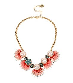 Betsey Johnson® Goldtone Shell & Simulated Pearl Frontal Necklace
