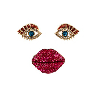 Betsey Johnson® Goldtone Pave Lips Stretch Ring & Eye Stud Earring Set